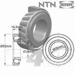 ROULEMENT DE COLONNE DE DIRECTION NTN 28X52X16 Type 320/28X