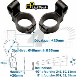 SUPPORT DEMI GUIDON Decalage 40mm Hauteur 20mm noir LIGHTECH