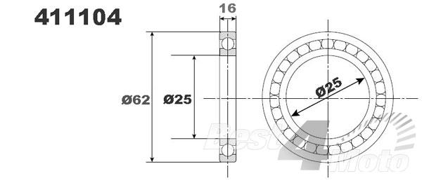 Roulement de vilebrequin 25 x 62 x 16 Prox 411104